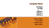 Orange Circuit Board Business Card Template